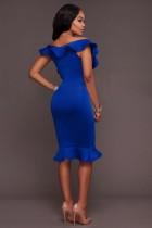 Frida Royal-Blue Ruffle Ponti Midi Dress L36147-2
