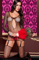 Fishnet Chemise with Garters L92251