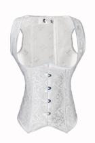Steel Boned Noble White Jacquard Waist Cincher Vest Corset L4266