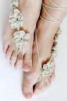Khaki Hand Made Flowery Crochet Beach Sandals L98005-5