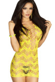 Yellow Crocheted Lace Hollow-out Chemise Dress L27999-3