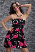 Hot Sale Plus Size Clubwear Red Flower L2506-1