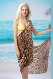 Sexy Wild Front Cross Leopard Beach Cover-up L3706