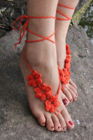 Orange Hand Made Flowery Crochet Beach Sandals L98005-3