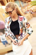 Stylish Scoop Neck Long Sleeves Floral Print Jacket L437