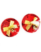 Circle Red Sequins With Bow Club Nipple Cover Pasties L9746