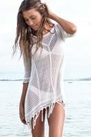 White Sexy Cool Fringe Crochet Beachwear L38207-3