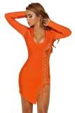 Tatianna Lace Up Detail Long Sleeve Bandage Dress L28217