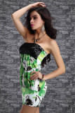 Ladys Sequin Strapless Tube Mini Dress Green Floral Print Clubwe