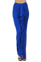 New Womens Fashion Style Ruffle Up Body Ruched Maxi Skirt Blue L