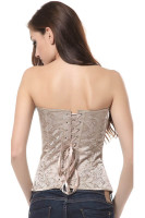 Plus size XXL,New Beige Boned Lace Up Back Bustier Corset Top L4