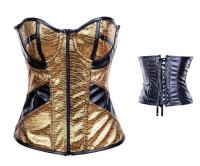 Plus Size Front Zip Sexy Corset Gold L4253-4
