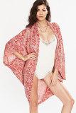 Red Printed Kimono Style Beachwear L38198