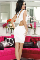 Mesh and Knit One Shoulder Bodycon Dress L2315-2