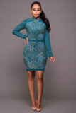 Winslow Hunter Green Jeweled Quilted Dress L28135-2