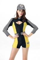 Sexy Roma Black Yellow Race Car Driver Speed Racer Nascar Pit Cr