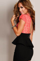 new women peplum dress slim hip package lace dress L2376-2