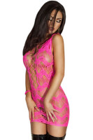 Pink Crocheted Lace Hollow-out Chemise Dress L27999-4