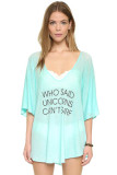 The loose Oversized Beach Top with Playful Words L38324