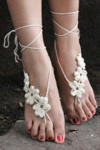 White Hand Made Flowery Crochet Beach Sandals L98005-2