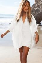 White Kimono Crochet Poncho Beachwear L38469-1