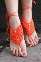 Orange Pearl Embellished Crochet Barefoot Sandals L98003-1