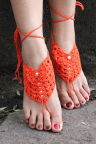 Orange Pearl Embellished Crochet Barefoot Sandals L98003-1