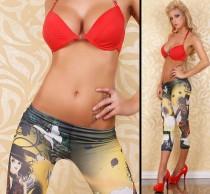 Sexy Capri Short Legging Tattoo Face L368