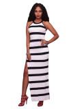 Leena Black & White Stripe Fitted long Dress with Side Split L51