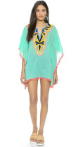 Sea Green Pom Pom Chiffon Beach Kaftan L38271