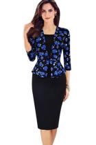 Fashion Casual Floral 3/4 Sleeve Pencil Dress L36099