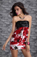 Ladys Sequin Strapless Tube Mini Dress Red Floral Print Clubwear