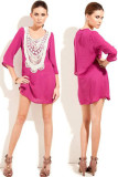 Rosy Lace Neckline Chiffon Beach Shirt L38202