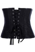 Front zipper Black Leather  Sexy Corset  L4244