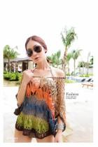 All-match multicolour handmade crochet pullover shirt batwing sl