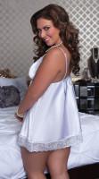 Plus Size Satin and Lace Babydoll Set White 2316-4