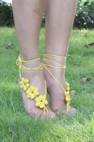 Yellow Hand Made Flowery Crochet Beach Sandals L98005-1