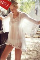 White Flower Kimono Lace Kaftan Beachwear L38248