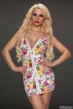 M,XXL Sexy VINTAGE 60s ROSE PRINT Zipper Dress Spring Floral Bod