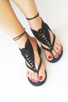 Black Pearl Embellished Crochet Barefoot Sandals L98003-4