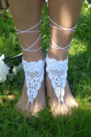 White Triangle Crochet Toe Ring Barefoot Sandals L98008-3