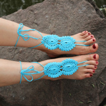 Blue Beach Fashion Crochet Barefoot Sandals L98002-3