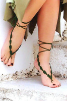 Green Crochet Leaves String Barefoot Sandals L98004-1