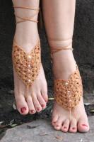 Khaki Pearl Embellished Crochet Barefoot Sandals L98003-2