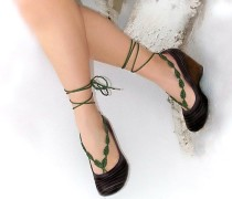 Green Crochet Leaves String Barefoot Sandals L98004-1