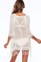 White Sexy Cool Fringe Crochet Beachwear L38207-3