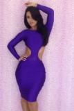 Purple Backless Bodycon Dress L2609-2