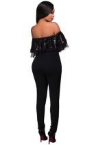Claritza Black Sequins Ruffle Top Jumpsuit L55267-1