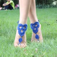 Royal Blue Triangle Floral Crochet Barefoot Sandals L98001-2