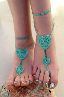 Green Crochet Sweetheart Beaded Barefoot Sandals L98006-2
